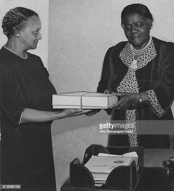 Educator and Civil Rights activist Mary McLeod Bethune receiving a package May 26 1942