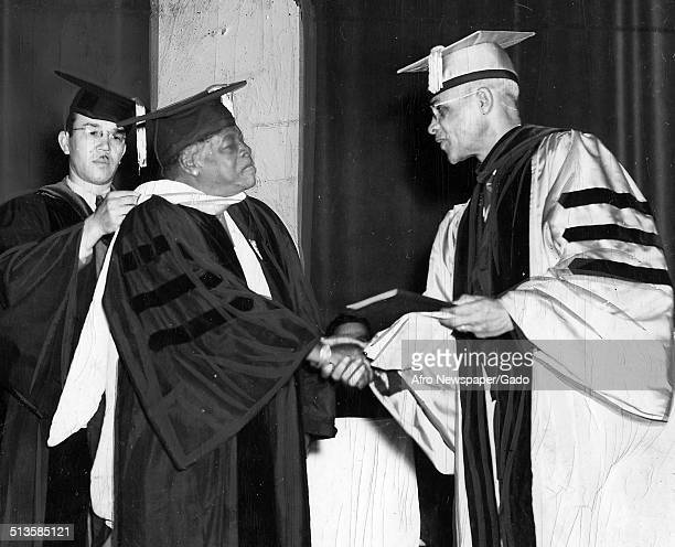 Educator and Civil Rights activist Mary McLeod Bethune woman and John W Davis receiving an honorary degree at West Virginia State College February 8...