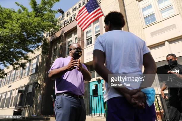 Educator and progressive Jamaal Bowman meets with voters at a school on June 23 2020 in Mount Vernon New York Bowman is running against US Rep Eliot...