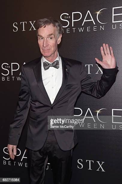 Educator Bill Nye attends a screening of The Space Between Us hosted by The Cinema Society at Landmark Sunshine Cinema on January 25 2017 in New York...