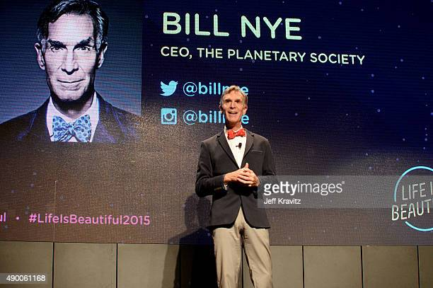 Educator Bill Nye speaks onstage during day 1 of the 2015 Life is Beautiful festival on September 25 2015 in Las Vegas Nevada