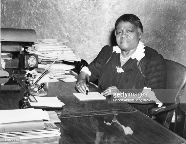 Educator Mary McLeod Bethune sits at a desk possibly in the Chicago Defender offices 1942 Ms Bethune wrote a regular weekly public affairs column for...