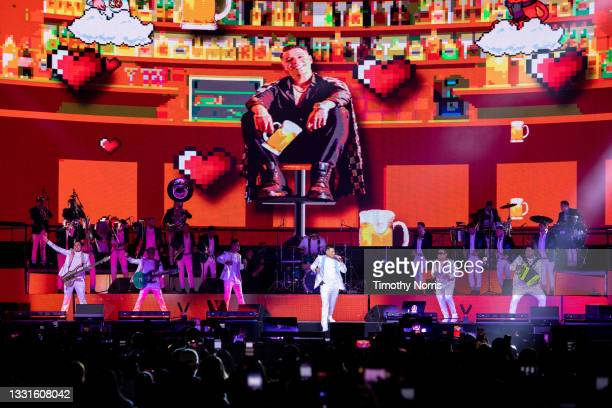 Eduin Caz of Grupo Firme performs at Staples Center at Staples Center on July 30, 2021 in Los Angeles, California.