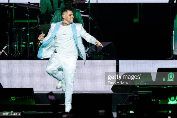 Eduin Cazares of Grupo Firme performs at Staples Center at Staples Center on July 30, 2021 in Los Angeles, California.
