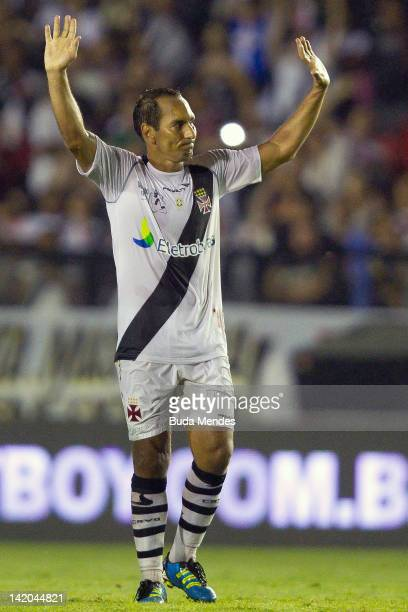 Edumundo celebrates a during a match between Vasco da Gama and Barcelona of Quayaquil as part of Edmundo's farewell match at Sao Januario stadium on...