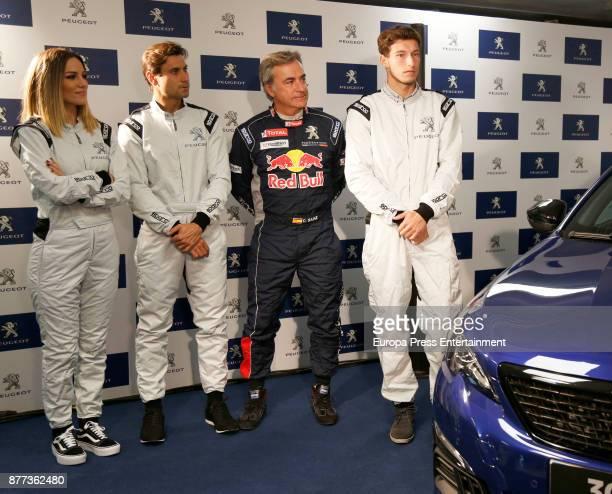Edurne David Ferrer Carlos Sainz and Pablo Carreno attend Peugeot 308 Gti Experience at Jarama Circuit on November 21 2017 in Madrid Spain