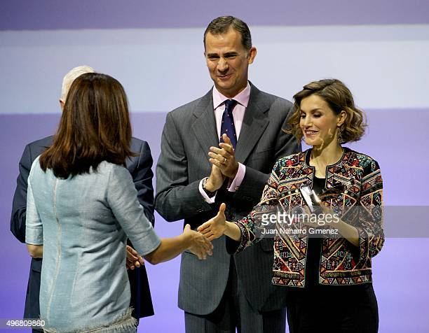 Edurne Pasaban King Felipe VI of Spain and Queen Letizia of Spain attend a meeting with ambassadors of the Spanish Brand at Auditorio Ciudad BBVA on...
