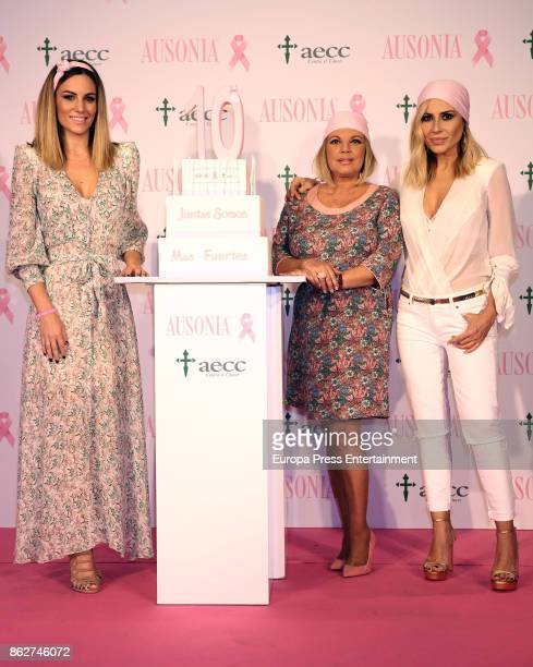 Edurne Terelu Campos and Marta Sanchez attend the presentation of Ausonia and AECC Against Breast Cancer campaign 'Juntas somos mas fuertes' on...
