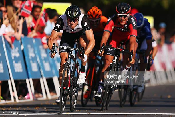 Edvald Boasson Hagen of Norway and Dimension Data crosses the line to win stage five of the 2016 Tour of Oman a 1195km road stage from Yiti to the...