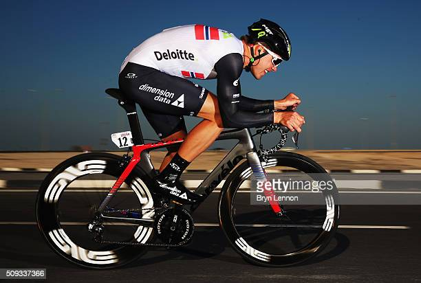 Edvald Boasson Hagen of Norway and Dimension Data in action on his way to winning stage three of the 2016 Tour of Qatar a 114km Individual Time Trial...