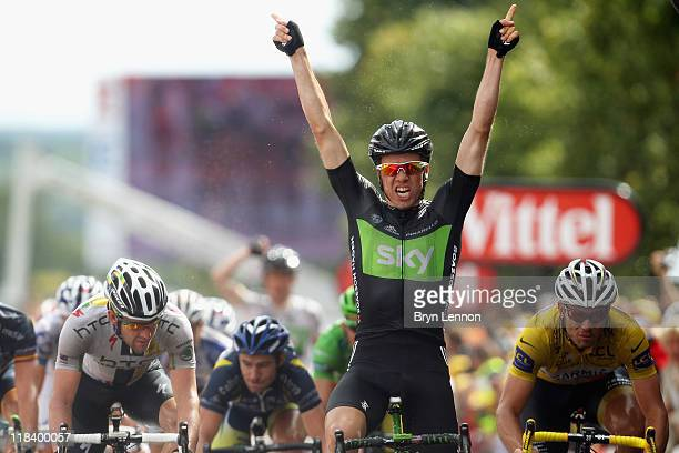 Edvald Boasson Hagen of Norway and SKY Procycling celebrates winning stage six of the 2011 Tour de France from Dinan to Lisieux on July 7 2011 in...