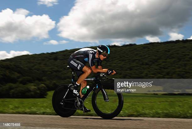 Edvald Boasson Hagen of Norway and SKY Procycling in action on stage nine of the 2012 Tour de France, a 41.5km individual time trial, from...