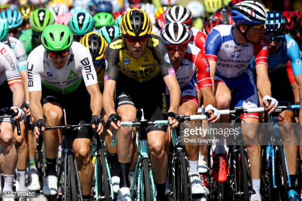 Edvald Boasson Hagen of Norway and Team Dimension Data / Laurens De Plus of Belgium and Team Jumbo-Visma / Matthieu Ladagnous of France and Team...