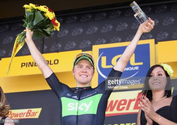 Edvald Boasson Hagen of Norway and Team SKY Procycling celebrates his stage victory on the podium Stage 17 of the 2011 Tour de France from Gap to...
