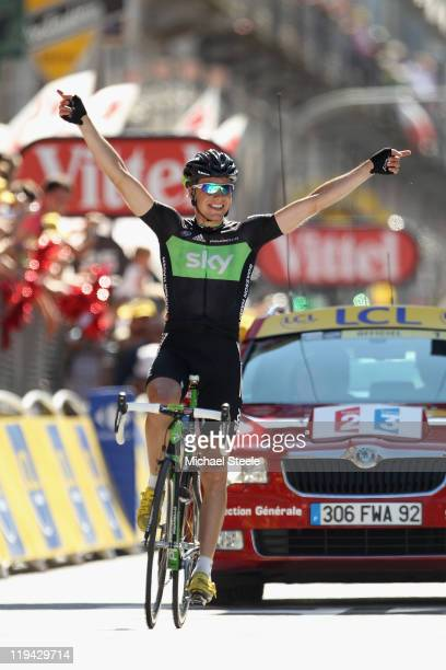 Edvald Boasson Hagen of Norway and Team SKY Procycling celebrates victory during Stage 17 of the 2011 Tour de France from Gap to Pinerolo on July 20,...