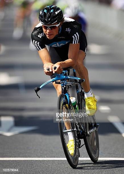 Edvald Boasson Hagen of Norway and Team SKY trains on the prologue route during a practice session prior to the start of the 2010 Tour de France on...