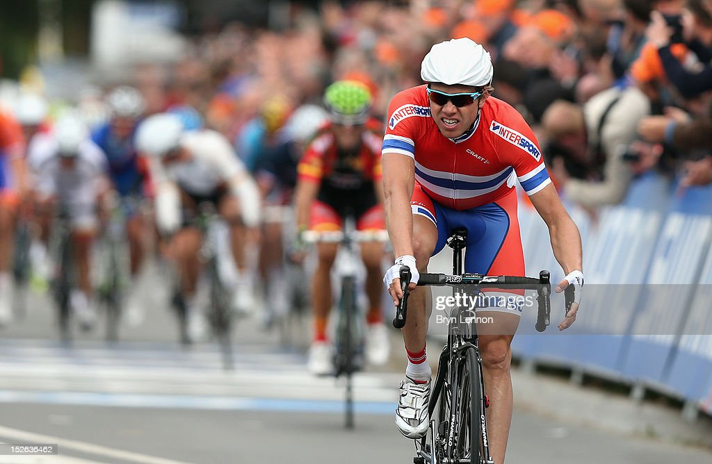 Edvald Boasson Hagen of Norway crosses the finish line to claim second in the Men's Elite Road Race on day eight of the UCI Road World Championships on September 23, 2012 in Valkenburg, Netherlands.