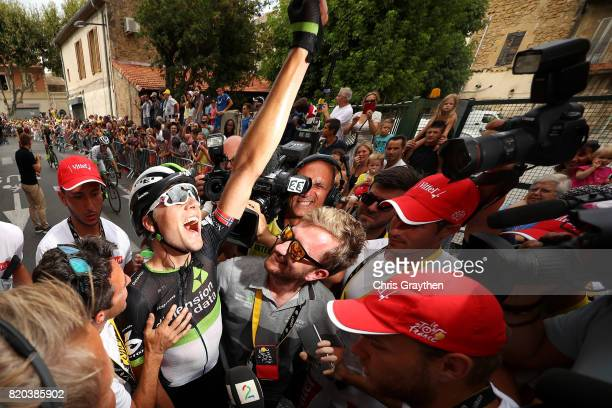 Edvald Boasson Hagen of Norway riding for Team Dimension Data celebrates after winning stage 19 of the 2017 Le Tour de France, a 222.5km stage from...