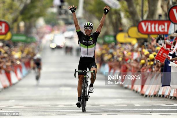Edvald Boasson Hagen of Norway riding for Team Dimension Data crosses the line and takes the stage win on stage nineteen of the 2017 Tour de France,...