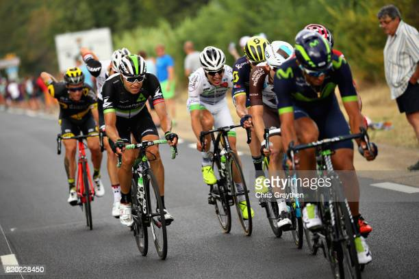 Edvald Boasson Hagen of Norway riding for Team Dimension Data rides in the breakaway group on stage nineteen of the 2017 Tour de France, a 222.5km...