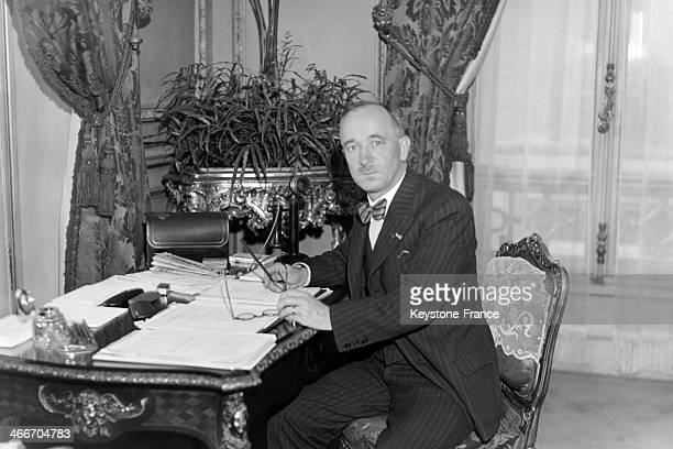 Edvard Benes Czechoslovak minister for foreign affairs at his hotel in Paris France