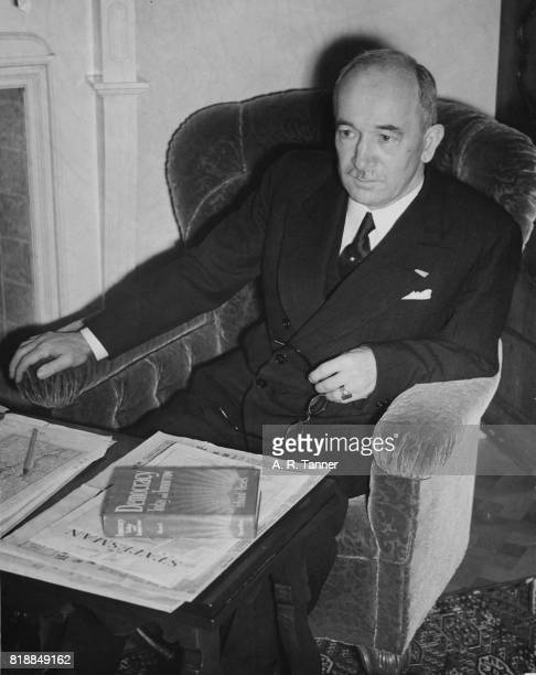 Edvard Benes the former President of Czechoslovakia at his house in Putney London with maps of his country 22nd September 1939 He is organising the...