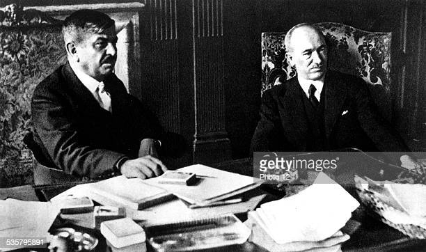 Edvard Benes with Foreign Minister Pierre Laval in Paris at Quai d'Orsay Czechoslovakia