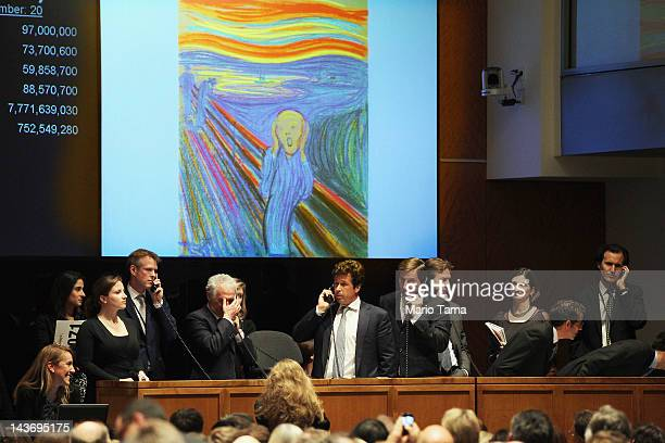 Edvard Munch's 'The Scream' is auctioned at Sotheby's May 2012 Sales of Impressionist, Modern and Contemporary Art on May 2, 2012 in New York City....
