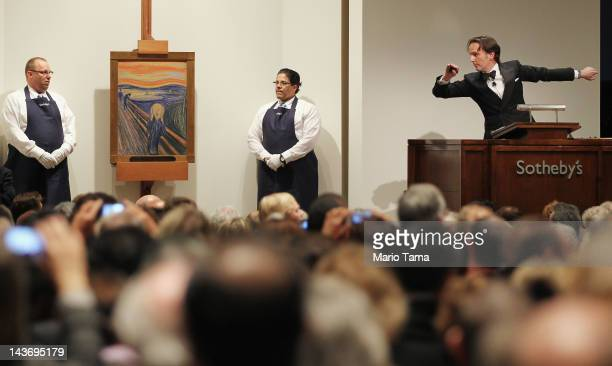Edvard Munch's 'The Scream' is auctioned at Sotheby's May 2012 Sales of Impressionist Modern and Contemporary Art on May 2 2012 in New York City The...