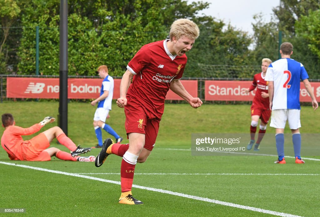 Edvard Sandvik Tagseth of Liverpool celebrates his goal during the Liverpool v Blackburn Rovers U18 Premier League game at The Kirkby Academy on August 19, 2017 in Liverpool, England.