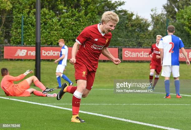 Edvard Sandvik Tagseth of Liverpool celebrates his goal during the Liverpool v Blackburn Rovers U18 Premier League game at The Kirkby Academy on...