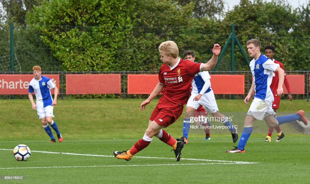 Edvard Sandvik Tagseth of Liverpool scores during the Liverpool v Blackburn Rovers U18 Premier League game at The Kirkby Academy on August 19, 2017 in Liverpool, England.