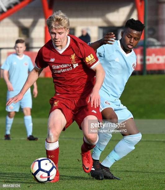Edvard Tagseth of Liverpool and Bali Mumba of Sunderland in action during the Liverpool v Sunderland U18 Premier League Cup game at The Kirkby...