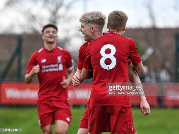 Edvard Tagseth of Liverpool celebrates scoring Liverpool's fifth goal with Jack Bearne during the U18 Premier League game at The Kirkby Academy on...