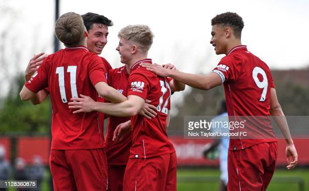 Edvard Tagseth of Liverpool celebrates scoring Liverpool's fifth goal with Jake Cain Matteo Ritaccio and Fidel O'Rourke during the U18 Premier League...