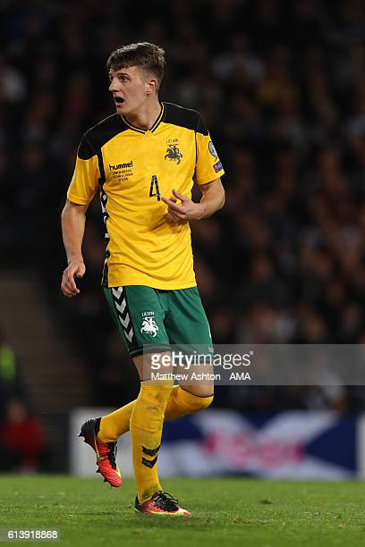 Edvinas Girdvainis of Lithuania during the FIFA 2018 World Cup Qualifier between Scotland and Lithuania at Hampden Park on October 8 2016 in Glasgow...