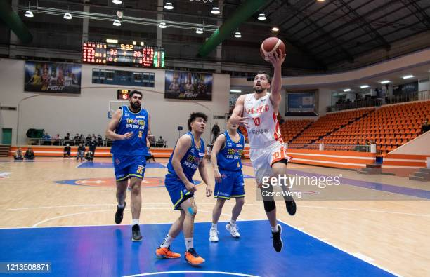 Edvinas Seskus of Pauian Archiland made a layup shot during the Super Basketball League closed door match between Pauian Archiland and Yulon Luxgen...