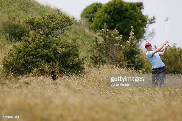 Edward Allsop of Bristol Clifton Golf Club plays a shot on the 18th hole during The Lombard Trophy West Qualifier at Burnham And Berrow Golf Club...