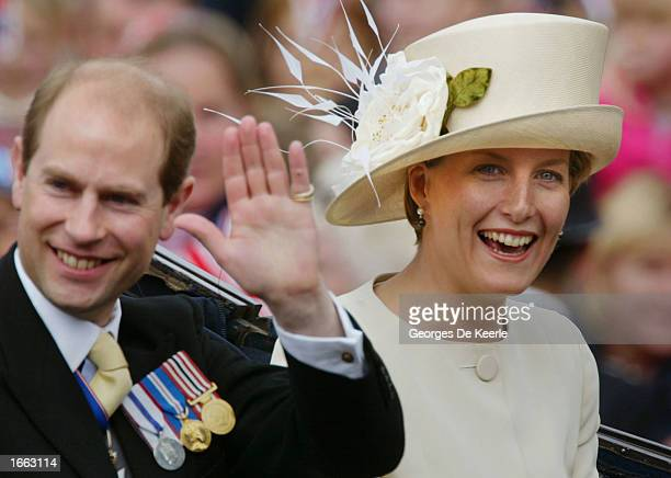 Edward and Sophie Wessex ride in a carriage at the head of a parade from Buckingham Palace to St Paul's Cathedral celebrating the Queen's Golden...
