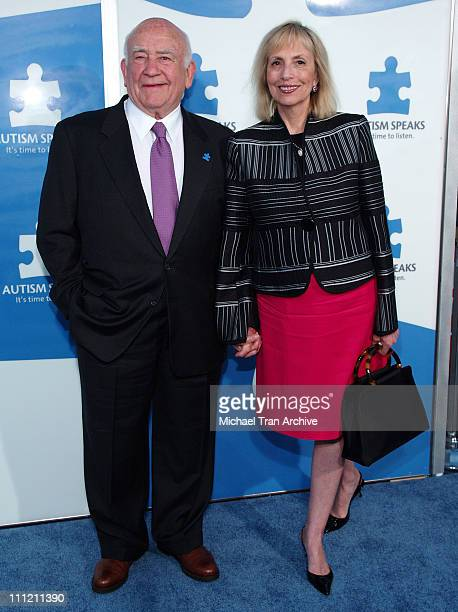 """Edward Asner and Cindy Gilmore during Jerry Seinfeld and Paul Simon To Perform """"One Night Only: A Concert for Autism Speaks"""" - Arrivals at Kodak..."""