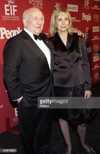 Edward Asner and wife Cindy Gilmore during The 8th Annual Screen Actors Guild Awards After Party Arrivals at The Shrine Auditorium in Los Angeles...