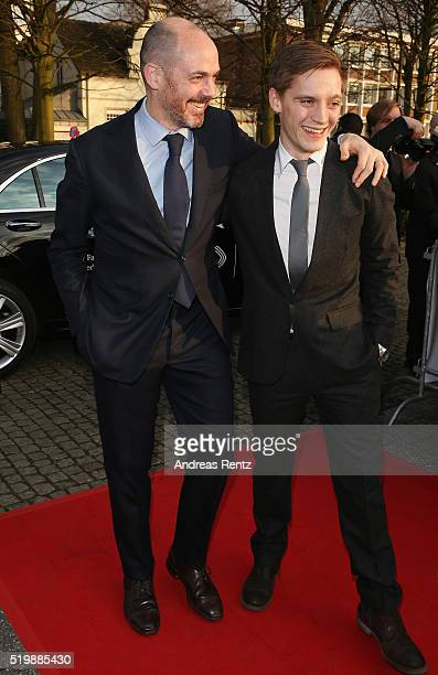 Edward Berger and Jonas Nay arrive at the 52th Grimme Award on April 8 2016 in Marl Germany