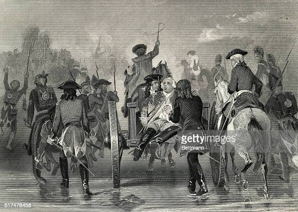 Edward Braddock British soldier Major General and Commander in Chief of British forces in America Shown in retreat Undated engraving from a painting...