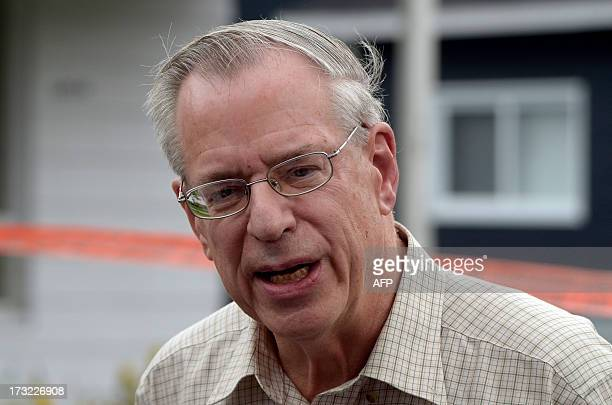 Edward Bukhardt CEO of Montreal Maine and Atlantic Railways Inc speaks July 10 2013 during a press conference on the July 6 train derailment and fire...