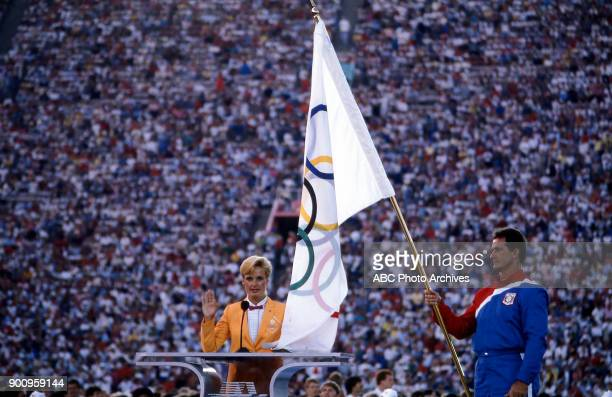 Edward Burke carrying flag Opening ceremonies at the 1984 Summer Olympics Memorial Coliseum July 28 1984