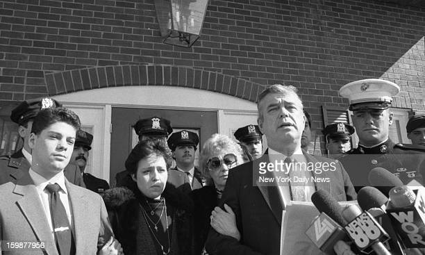 Edward Byrne parents Matthew Byrne, joined by wife, Ann; slain cop's girlfriend, Lisa D'Ambrosio, and cop's brothers Kenneth and Steven, outside...