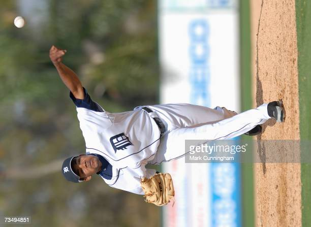 Edward Campusano of the Detroit Tigers pitching during the game against Florida Southern College at Joker Marchant Stadium in Lakeland Florida on...