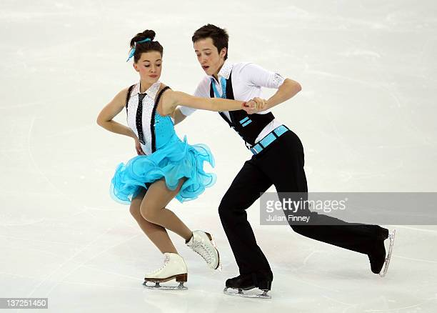 Edward Carstairs and Millie Paterson of Great Britain perform in the Ice Dance Free Dance Figure Skating during the Winter Youth Olympic Games on...