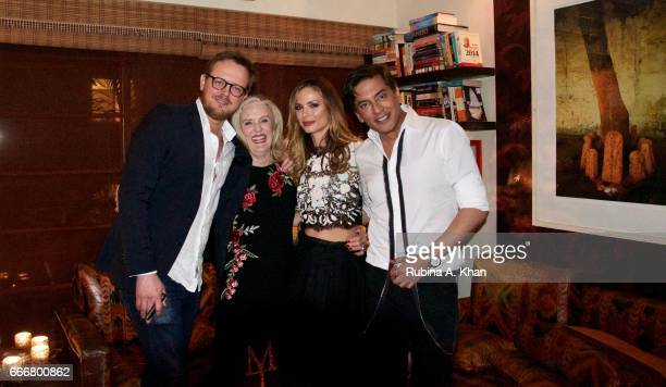 Edward Chapman Caroline Wonfor and Georgina Chapman cofounder and creative director of Marchesa fashion and Parag Gupta at a dinner party hosted by...