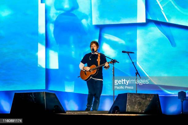 Edward Christopher Sheeran English singer songwriter guitarist record producer and actor performs during the first day of Sziget Festival in Budapest...